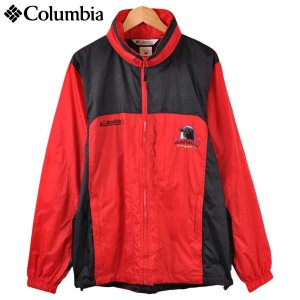 Columbia コロンビア 企業物 薄手 ナイロン アウトドアジャケット レッド×ブラック 刺繍入り メンズM|penguintripper