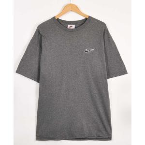 ビッグTシャツ ヴィンテージ 90年代 USA製 NIKE ナイキ 半袖Tシャツ 霜降りグレー×ワンポイントロゴ刺繍  XL相当(21256|penguintripper