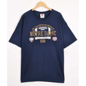 ビッグTシャツ NIKE ナイキ ノートルダム大学 カレッジ系 半袖Tシャツ ネイビー メンズXL(21282|penguintripper