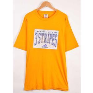 ビッグTシャツ ヴィンテージ 90年代 USA製 adidas アディダス 半袖Tシャツ イエロー メンズXL相当(21319|penguintripper