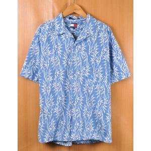 ビッグサイズ TOMMY HILFIGER トミーヒルフィガー アロハシャツ 半袖シャツ ライトブルー系 竹柄 メンズXL相当 penguintripper