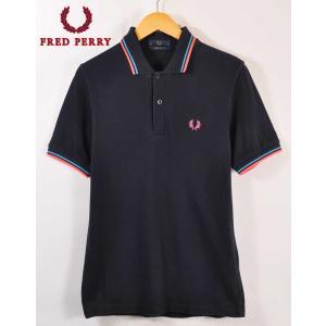 イングランド製 FRED PERRY フレッドペリー 半袖 ポロシャツ ダークネイビー×蛍光ピンク×ブルーリブライン S相当|penguintripper