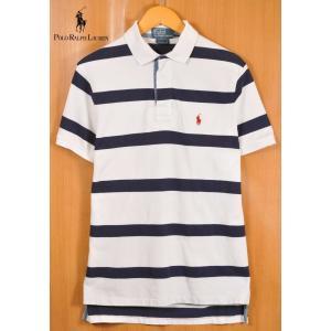 Polo ポロ ラルフローレン ラガーシャツスタイル 半袖ポロシャツ ホワイト×ネイビー ボーダー柄 メンズS|penguintripper