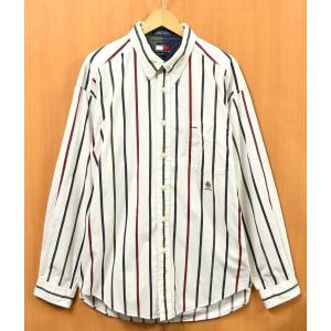 ビッグサイズ トミーヒルフィガー ボタンダウン 長袖シャツ ワンポイント刺繍 ホワイトベース ストライプ 3XL相当(24554|penguintripper