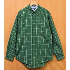 ビッグサイズ トミーヒルフィガー 長袖シャツ ボタンダウン グリーン×ホワイト チェック柄 XL相当(24599|penguintripper