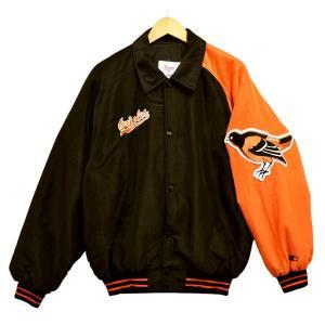 ビッグ USA製 Diamond COLLECTION スターター MLB オリオールズ ナイロンスタジャン 中綿 ブラック×オレンジ XL相当(29500|penguintripper
