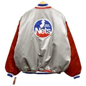 展示品 Majestic HARDWOOD CLASSICS NBA ニュージャージー・ネッツ ナイロンスタジャン 中綿 グレー×レッド 4XL 新品(36416|penguintripper