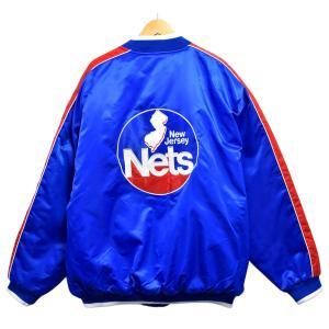 展示品 HARDWOOD CLASSICS G-III NBA ニュージャージー・ネッツ ナイロンスタジャン 中綿 ブルー×レッド 2XL 新品(36534|penguintripper