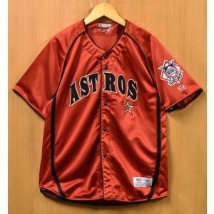 TRUE FAN MLB ヒューストン・アストロズ ベースボールシャツ ユニフォーム オレンジ メンズM相当(37341 penguintripper