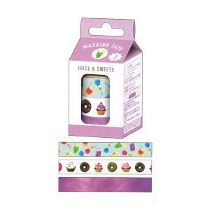 ミルクボックス マスキングテープ 3個入【JUICE&SWEETS】 カミオジャパン 08366|penport
