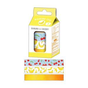 ミルクボックス マスキングテープ 3個入【BANANA&CHERRY】 カミオジャパン 08368|penport