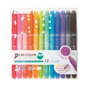 水性サインペン プレイカラードット 多色セット【12色セット】 トンボ鉛筆 GCE-011|penport