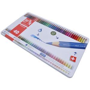 カランダッシュ CARAND'ACHE 色鉛筆 ファンカラー 水溶性色鉛筆 1288-340 ファンカラー40色セット(缶入) 10C1288-340  (7600)|penworld