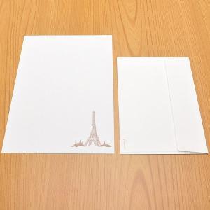 クオレッティ コットン レターセット ホワイト XG2135 封筒+便箋セット エッフェル塔 256A-XG2135 (4200)|penworld