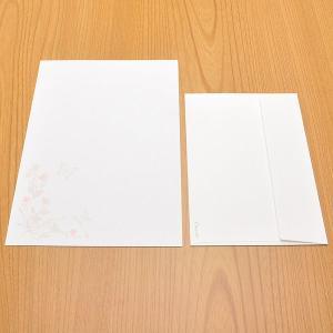 クオレッティ コットン レターセット ホワイト XG2235 封筒+便箋セット 蝶と花 256A-XG2235 (4400)|penworld