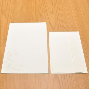 クオレッティ コットン レターセット クリーム XG2245 封筒+便箋セット 蝶と花 256A-XG2245 (4400)|penworld