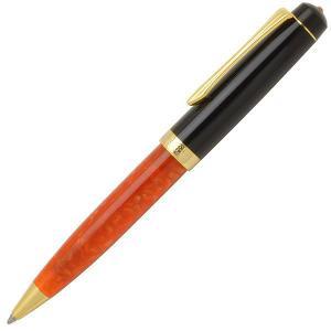 ボールペン 名入れ / Pent〈ペント〉 by大西製作所 アセテート  スワロフスキー SWAROVSKI付き マンダリンオレンジ 黒キャップ 25859 (12300)|penworld