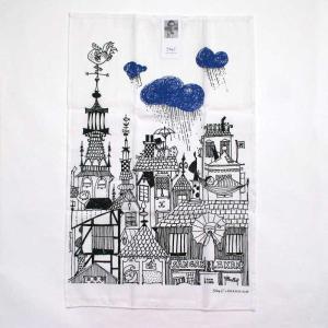 Stig Lindberg(スティグ・リンドベリ)/キッチンタオル/びしょ濡れ靴のダニエル「レイン」ブルー pepapape