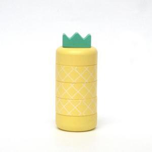 Aloha pineapple/イエロー/アロハ/パイナップル/kiko+/キコ/黄色/きいろ/キイロ/だるま落とし/ダルマ/おとし/木のおもちゃ/木製/ゲーム/知育玩具|pepapape