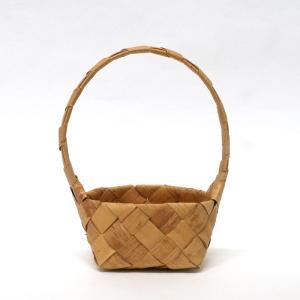 北欧フィンランドの白樺のカゴ バスケット(持ち手つき)・小/9×9×6cm/カイヤ・カッリ/しらかば/シラカバ/かご/籠/バスケット|pepapape