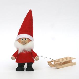 トムテ人形/木のフィギュア/トムテとそり/クリスマス/サンタクロース/北欧/スカンジナビアン・ヘムスロイド/スカンジナビスク/オブジェ/置物/木製|pepapape