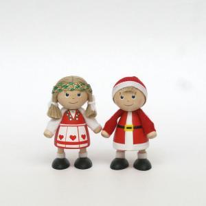 トムテ人形/木のフィギュア/クリスマスボーイ&ガール/クリスマス/サンタクロース/北欧/スカンジナビアン・ヘムスロイド/スカンジナビスク/オブジェ/置物/木製|pepapape