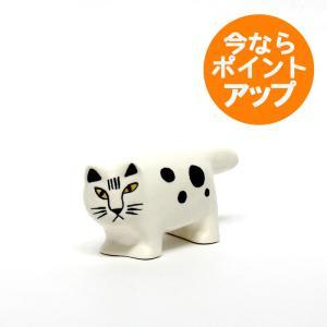 【送料無料】白いブチのMIKA/リサ・ラーソン/置物/オブジェ/Lisa Larson/猫/ねこ/ネコ/ミカ pepapape