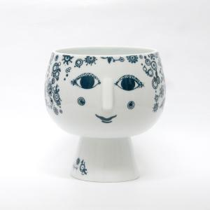 Bjorn Wiinblad/ビヨン・ヴィンブラッド/Flowerpot with foot/フラワーポット ウィズ フット/Juliane/ジュリアン/BLUE/L/ブルー/青/H20.2cm/花器/花瓶/北欧|pepapape