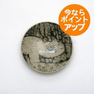 Lisa Larson/リサ・ラーソン/リサラーソン/森と動物の絵皿/4寸皿/サイ/さい/プレート/平皿/小皿/茶色/益子焼|pepapape