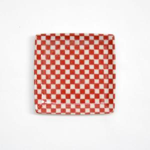 印判角皿 市松 朱/mononoahare/ANGLE(アングル)|pepapape