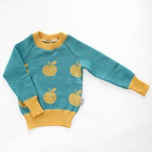 【クリックポスト対応】Johanna K. Design/セーター リンゴ(イエロー×ブルー)/ウール100%/フィンランド|pepapape