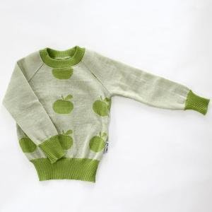 【クリックポスト対応】Johanna K. Design/セーター リンゴ(グリーン×ホワイト)/ウール100%/フィンランド|pepapape