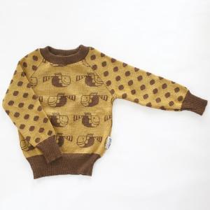 【クリックポスト対応】Johanna K. Design/セーター サカナ(ブラウン×イエロー)/ウール100%/フィンランド|pepapape