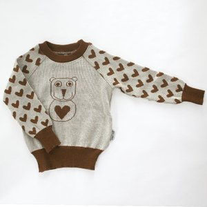 【クリックポスト対応】Johanna K. Design/セーター クマ(ブラウン×ホワイト)/ウール100%/フィンランド|pepapape