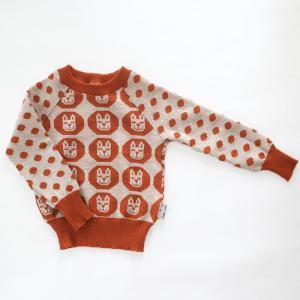 【クリックポスト対応】Johanna K. Design/セーター ウサギ(ライトブラウン×ホワイト)/ウール100%/フィンランド|pepapape