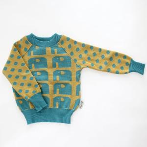 【クリックポスト対応】Johanna K. Design/セーター ゾウ(ブルー×イエロー)/ウール100%/フィンランド|pepapape