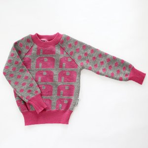 【クリックポスト対応】Johanna K. Design/セーター ゾウ(ピンク×グレー)/ウール100%/フィンランド|pepapape