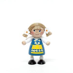 ミニドール/木のフィギュア/トムテ/スウェーデン・ガール/スカンジナビアン・ヘムスロイド/スカンジナビスク/オブジェ/置物/木製/北欧|pepapape