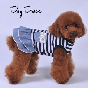 〓犬 服 犬服 小型犬 ボーダー デニム風 ワンピース ドッグウエア  XS S M L ネイビー