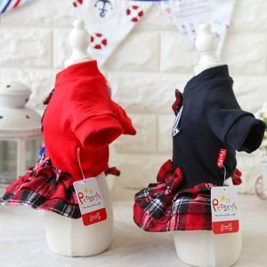 犬 服 犬服 チェック フレア リボン付き ワンピース 小型犬 XS S M L ブラック レッド|pepedogcat|03