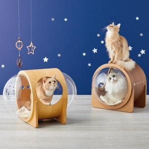 カプセル越しのうちの子が可愛すぎると大人気! 猫を魅了するリラックス空間。 お部屋に馴染むシンプルデ...