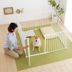 アレンジサークル スチール(送料無料 犬 サークル 子犬 成犬 高齢犬 形を変形 アレンジ自由 マイサークル ケージ サークル 全年齢対応)