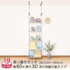 幅60 5段 ルミナス つっぱり スチールラック ルミナスフィール 19mm 幅59.5×奥行29.5×高さ220〜280cm|perfect-floors