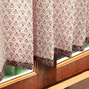 オーダーカーテン 南フランス 小窓 小花 〜プチグラン〜 ライラック 紫 最短翌日出荷 1.5倍ヒダ|perfect-space-c