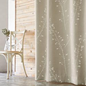 ハートの実が可愛いナズナのカーテン。未晒しの麻のような生地感です。 カラー:ベージュ 機能:3級遮光...