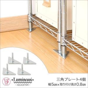 [19mm] ルミナス 三角プレート スチールラック 高さ0.8cm 4個 パーツ IHT-A2-2 perfect-space