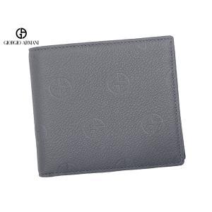 EMPORIO ARMANI エンポリオ アルマーニ Y4R072 YN47J 86526 GAイーグルマーク柄 グレー系 PVC X ブラックレザー マグネット マネークリップ メンズ ウォレット perlei