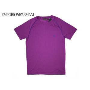 エンポリオアルマーニ アンダーウエア 111231 6A524 GAイーグルロゴマーク入りメンズ向けパープル系ストレッチTシャツ M|perlei