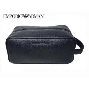 EMPORIO ARMANI エンポリオ アルマーニ YEM438 YC89J 80001 BLACK 型押しロゴ入り ブラックレザー セカンドバッグ クラッチバッグ ビューティーケース perlei