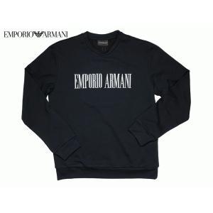 エンポリオ アルマーニ 7V1M63 1JUHZ 0999 NERO ホワイト系 ロゴ入り メンズ ブラック トレーナー スウェット シャツ M|perlei